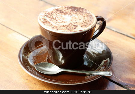 Cappucino stock photo, A cappucino on a wooden table by Lasse Kristensen@gmail.com