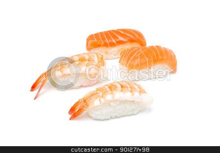 Prawn and salmon nigiri stock photo, A delicious piece of prawn and salmon nigiri isolated on white by Lasse Kristensen@gmail.com