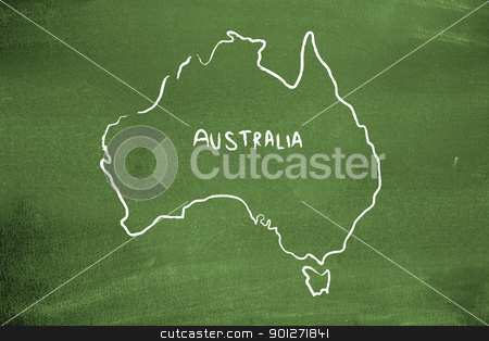 Australia stock photo, Australia on a blackboard by Lasse Kristensen@gmail.com