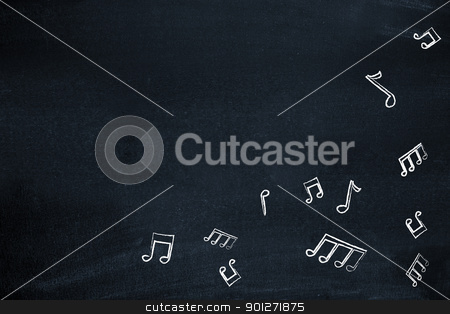 Music notes on blackboard stock photo, Music notes on blackboard by Lasse Kristensen@gmail.com