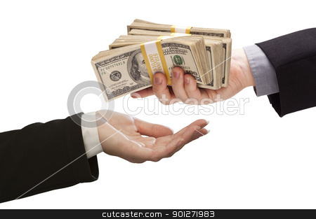 Handing Over Cash to Other Hand on White stock photo, Handing Over Stacks of Cash to Other Hand Isolated on a White Background. by Andy Dean