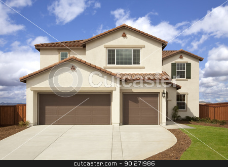 New Modern Family Home stock photo, A newly constructed, modern american home. by Andy Dean