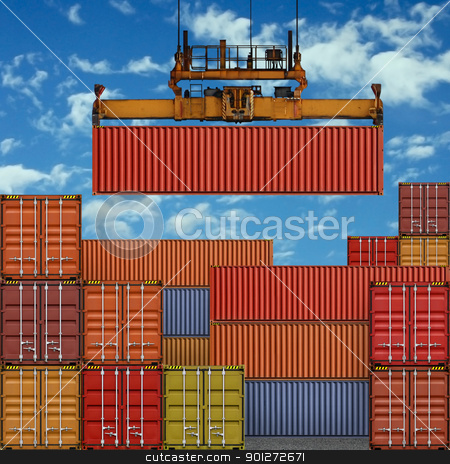 Freight Containers stock photo, A Freight Container on Crane at the Docks by Binkski Art