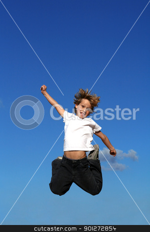 happy kid or child jumping stock photo, happy kid or child jumping by mandygodbehear
