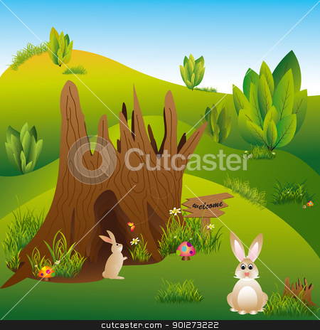 Springtime Easter holiday illustration stock vector clipart, Springtime Easter holiday illustration rabbits in wonderland by meikis