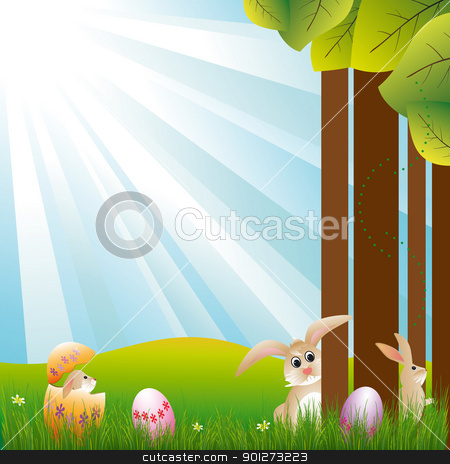 Springtime Easter holiday illustration stock vector clipart, Springtime Easter holiday illustration rabbits and colorful easter egg by meikis