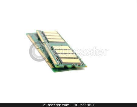 Memory cards (RAM) stock photo, Memory cards (RAM) over white. Shallow DOF. by Sergei Devyatkin