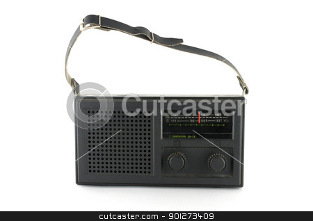 Black pocket radio stock photo, Black pocket radio over white by Sergei Devyatkin