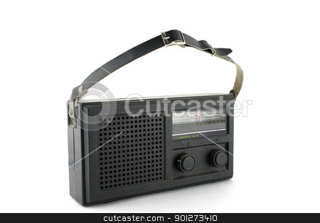 Pocket radio stock photo, Old pocket radio over white by Sergei Devyatkin