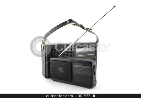 Two pocket radio stock photo, Two old pocket radio over white by Sergei Devyatkin