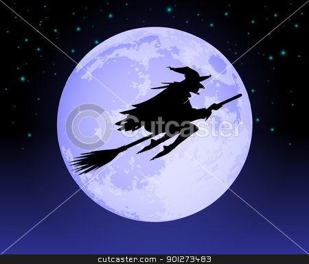 Witch Flying Past the Moon stock vector clipart, Witch Flying Past the Moon on a broomstick at night by TheModernCanvas