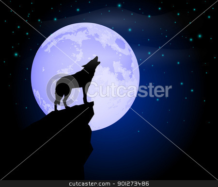 Wolf Howling stock vector clipart, Silhouette of a lonely wolf howling in the moon light by TheModernCanvas