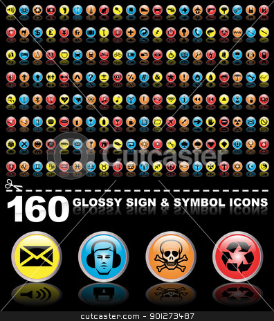 160 symbol icons stock vector clipart, 160 glossy sign and symbol icon buttons by TheModernCanvas