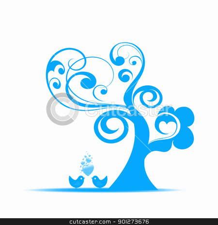 Art tree stock vector clipart, Beautiful art tree and birds isolated on white background by Ingvar Bjork