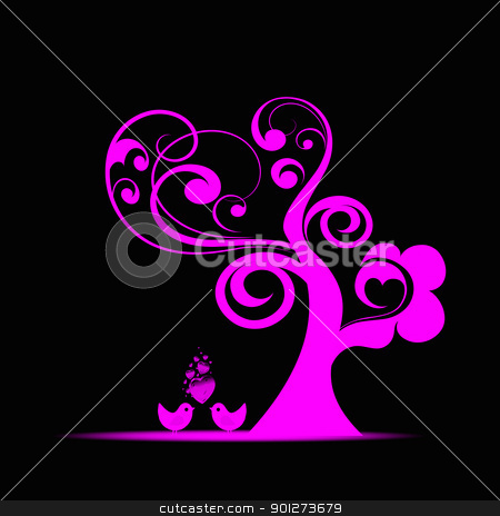 Art tree stock vector clipart, Beautiful art tree and birds isolated on black background by Ingvar Bjork