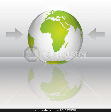 Glossy planet stock vector clipart, Glossy planet with green continents and reflection by TheModernCanvas