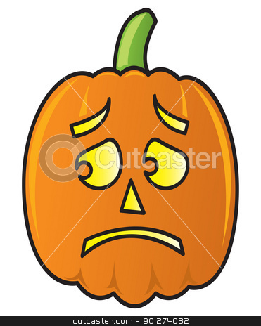 Cartoon Pumpkin stock vector clipart, A cartoon pumpkin with a frightened face. by Jamie Slavy