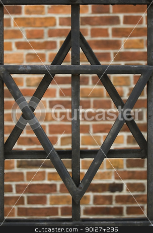 David's star stock photo, David's star over brick background in Cracow, Poland. by johnnychaos