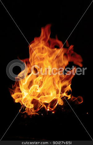 Burning fire stock photo, Burning fire isolated on a black background by Lars Christensen
