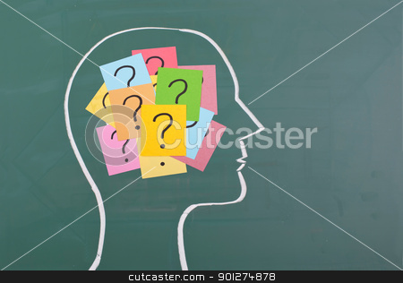 Human brain and colorful question mark  stock photo, Human brain and colorful question mark  draw on blackboard by Lawren