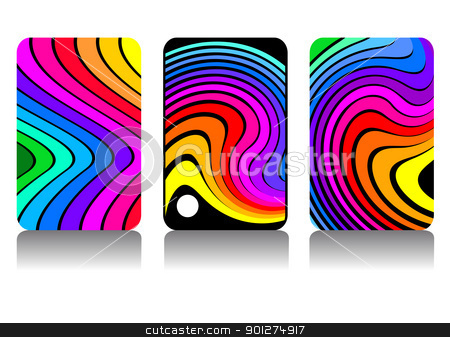 Rainbow design stock vector clipart, Set of colorful design for phone display, business card or background, full scalable vector graphic included Eps v8 and 300 dpi JPG. by Ela Kwasniewski