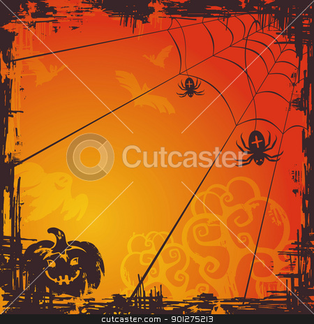 Halloween vector background stock vector clipart, abstract autumn cartoon Halloween background vector illustration by SelenaMay