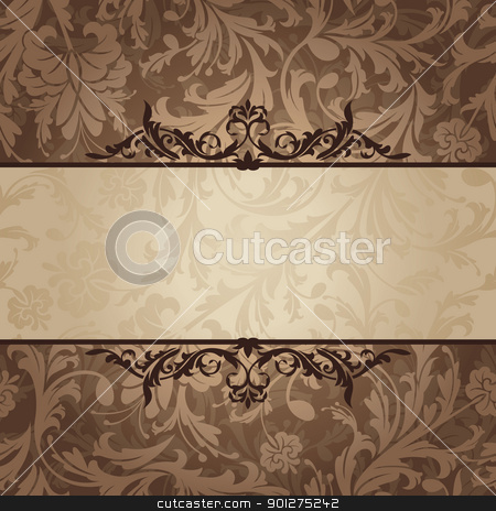 vintage floral frame stock vector clipart, abstract retro vintage floral frame vector illustration by SelenaMay
