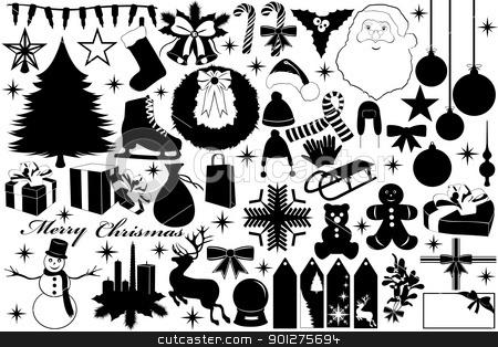 Christmas illustration with objects stock vector clipart, Christmas illustration with objects isolated on white by Ioana Martalogu