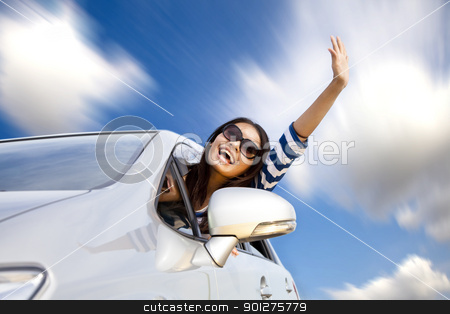 happy young woman in car driving on the road  stock photo, happy young woman in car driving on the road  by tomwang