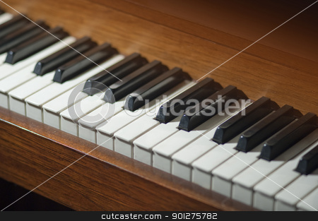 Piano keys  stock photo, Piano keys on an antique piano by Christian Delbert