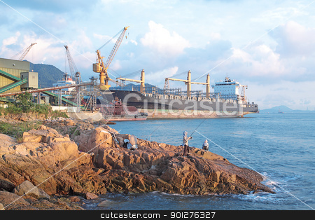 dock basin stock photo, dock basin at sea bay by Keng po Leung