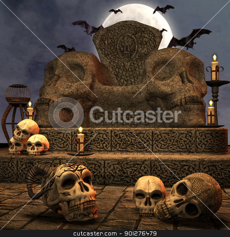 spooky throne stock photo, 3d render of a spooky scene by ancello