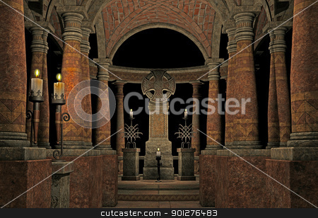 spooky church stock photo, 3d render of a spooky church by ancello