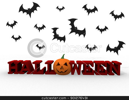 Halloween letters with pumpkin and bats stock photo, Halloween letters with pumpkin and bats by dacasdo