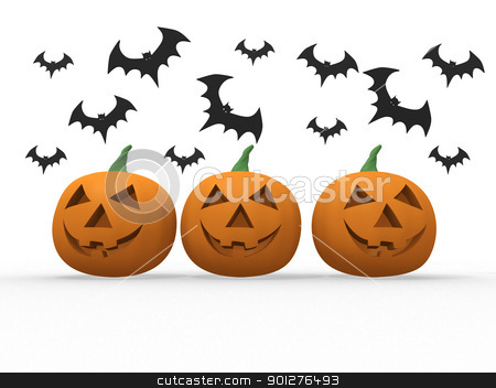 Halloween pumpkin & bats on white background  stock photo, Halloween pumpkin & bats on white background 