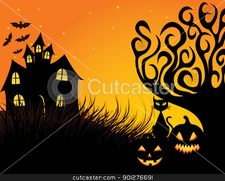 Spooky Halloween stock vector clipart, Halloween dark scene with black cat. by wingedcats