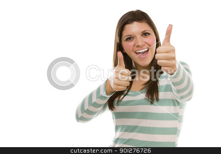 Excited Ethnic Female with Thumbs Up on White stock photo, Excited Pretty Ethnic Female with Thumbs Up Isolated on a White Background. by Andy Dean