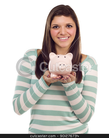 Ethnic Female Holding Piggy Bank on White stock photo, Pretty Ethnic Female Holding Pink Piggy Bank Isolated on a White Background. by Andy Dean