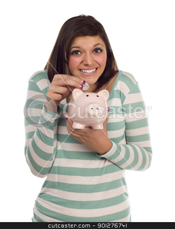 Ethnic Female Putting Coin Into Piggy Bank on White stock photo, Pretty Smiling Ethnic Female Putting a Coin Into Her Pink Piggy Bank Isolated on a White Background. by Andy Dean