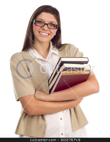 Ethnic Student with Books on White stock photo, Pretty Smiling Ethnic Female Student Holding Books Portrait Isolated on a White Background. by Andy Dean