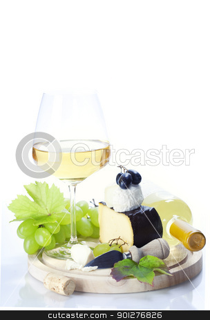 white wine, grape and cheese stock photo, white wine, grape and cheese over white by klenova