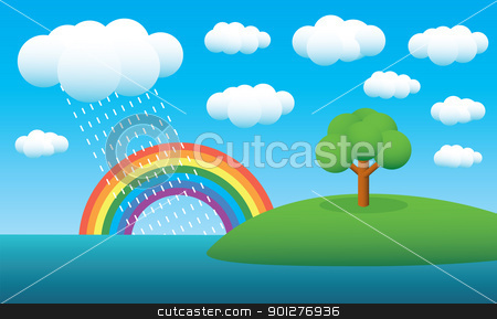 rainbow landscape stock vector clipart, tree on island, clouds, summer rain and rainbow by artizarus