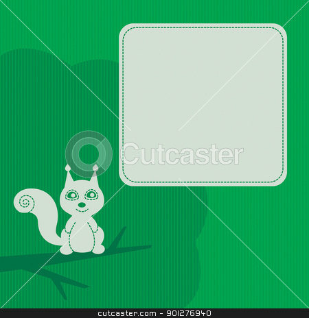 frame with squirrel stock vector clipart, frame with stylish smiling squirrel by artizarus
