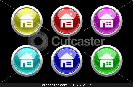 plastic home buttons on black stock vector clipart, plastic buttons with home symbol on black by artizarus