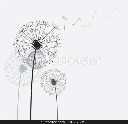 dandelion stock vector clipart, dandelion in the wind. all elements are separate. File is layered. Vector illustration by artizarus
