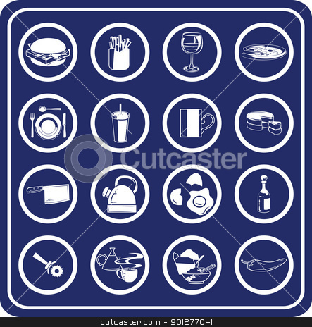Food icon set stock vector clipart, Food and drink icons  by Christos Georghiou