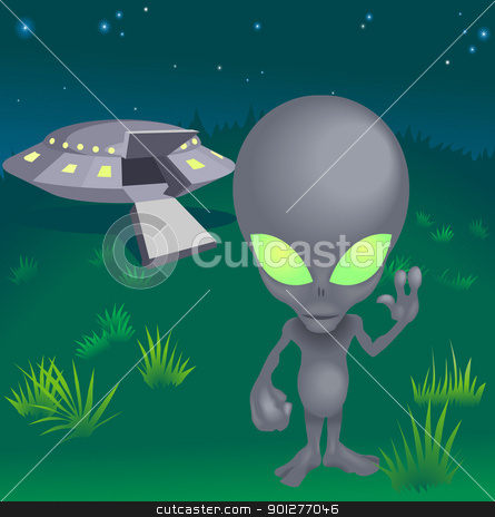 Image of alien and flying saucer stock vector clipart, a little alien and his flying saucer by Christos Georghiou