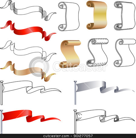 Scroll, banner, and flag design elements  stock vector clipart, Scroll, banner, and flag design elements, several alternatives.  by Christos Georghiou