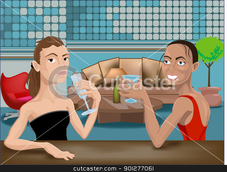 two beautiful woman in a bar stock vector clipart, illustration of two beautiful young women enjoying drinks in a bar by Christos Georghiou