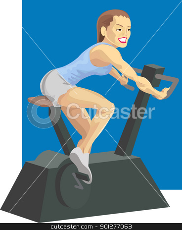 woman on exercise bike stock vector clipart, illustration of a woman on an exercise bike, raster version by Christos Georghiou